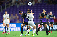 ORLANDO, FL - SEPTEMBER 11: Jodie Taylor #9 of the Orlando Pride and Savannah McCaskill #7 of Racing Louisville FC battle for the ball during a game between Racing Louisville FC and Orlando Pride at Exploria Stadium on September 11, 2021 in Orlando, Florida.