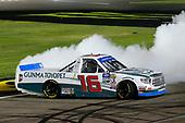 #16: Austin Hill, Hattori Racing Enterprises, Toyota Tundra Gunma Toyopet celebrates his win with a burnout