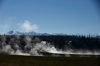 Steam rises from a geothermal feature near Pelican Valley in Yellowstone National Park, Wyoming on Tuesday, May 23, 2017. (Photo by James Brosher)