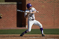 Austen Zente (5) of the High Point Panthers tries to avoid an inside pitch during the game against the NJIT Highlanders at Williard Stadium on February 19, 2017 in High Point, North Carolina. The Panthers defeated the Highlanders 6-5. (Brian Westerholt/Four Seam Images)
