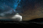 Old faithful geyser under the Milky Way, Yellowstone National Park, Wyoming, USA<br /> <br /> Canon EOS-1D X, Zeiss Distagon T* 2.8/15 ZE lens, f/2.8 for 25 seconds, ISO 3200