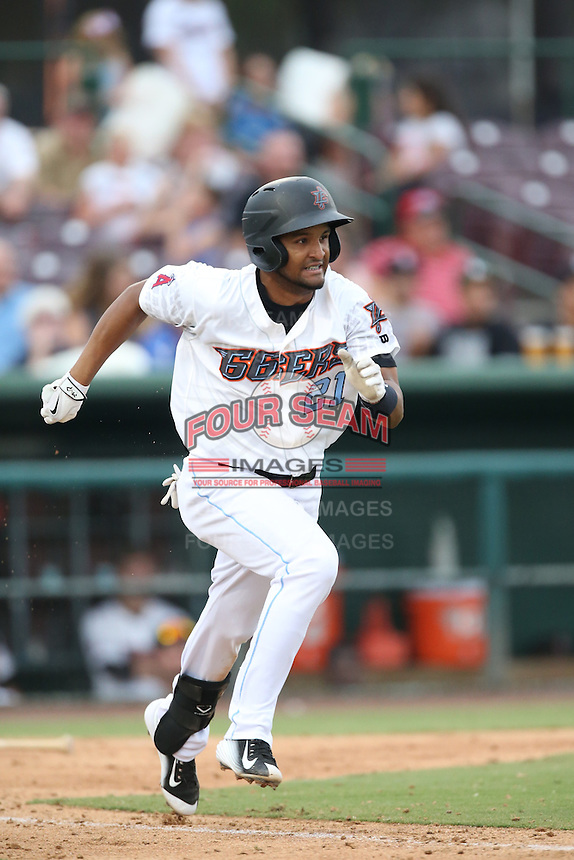 Roberto Baldoquin (21) of the Inland Empire 66ers runs the bases during a game against the Stockton Ports at San Manuel Stadium on June 28, 2015 in San Bernardino, California. Stockton defeated Inland Empire, 4-1. (Larry Goren/Four Seam Images)