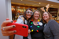 Pictured: Lottery winners Karen Maddock 51 (R) and Tina Burgess, 55 (L) both from Bristol.  Wednesday 28 November 2018<br /> Re: National Lottery millionaires from south Wales and the south west of England have hosted a glitzy Rat Pack-inspired Christmas party for an older people's music group at The Bear Hotel in Cowbridge, Wales, UK.