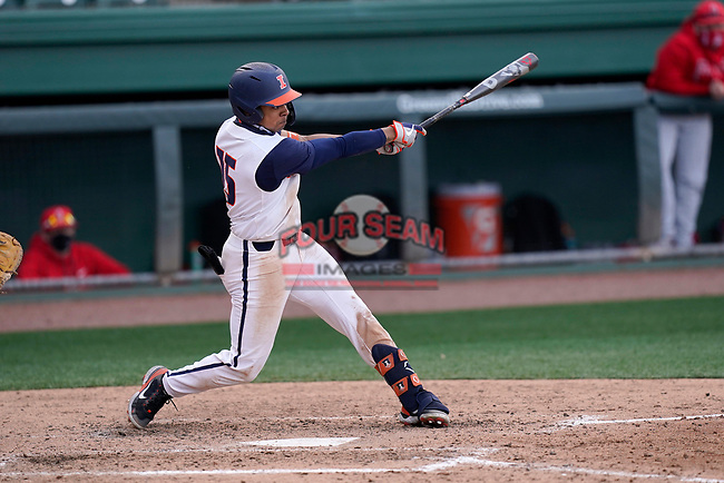 Center fielder Taylor Jackson (15) of the Illinois Fighting Illini bats in a game against the Ohio State Buckeyes on Friday, March 5, 2021, at Fluor Field at the West End in Greenville, South Carolina. (Tom Priddy/Four Seam Images)
