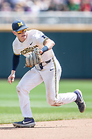 Michigan Wolverines shortstop Jack Blomgren (2) on defense during Game 11 of the NCAA College World Series against the Texas Tech Red Raiders on June 21, 2019 at TD Ameritrade Park in Omaha, Nebraska. Michigan defeated Texas Tech 15-3 and is headed to the CWS Finals. (Andrew Woolley/Four Seam Images)