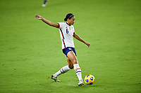 ORLANDO, FL - JANUARY 18: Lynn Williams #13 of the United States looks for an open team mate during a game between Colombia and USWNT at Exploria Stadium on January 18, 2021 in Orlando, Florida.