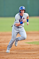 Kingsport Mets designated hitter Brett Baty (1) runs to third base during a game against the Elizabethton Twins at Joe O'Brien Field on July 6, 2019 in Elizabethton, Tennessee. The Twins defeated the Mets 5-3. (Tony Farlow/Four Seam Images)