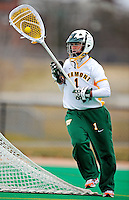 5 April 2008: University of Vermont Catamounts' Goalkeeper Meaghan Hanley, a Senior from Fort Pierce, FL, in action against the University at Albany Great Danes at Moulton Winder Field, in Burlington, Vermont. With only seconds left in regulation time, the Catamounts rallied to defeat the visiting Danes 11-10 in America East conference play...Mandatory Photo Credit: Ed Wolfstein Photo