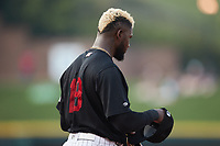 Luis Robert (19) of the Winston-Salem Warthogs during the game against the Jersey Shore BlueClaws at Truist Stadium on July 21, 2021 in Winston-Salem, North Carolina. (Brian Westerholt/Four Seam Images)