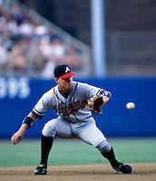 Chipper Jones of the Atlanta Braves participates in a Major League Baseball game at Dodger Stadium during the 1998 season in Los Angeles, California. (Larry Goren/Four Seam Images)