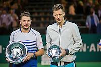 Februari 15, 2015, Netherlands, Rotterdam, Ahoy, ABN AMRO World Tennis Tournament, Final:   left winner Stanislas Wawrinka (SUI) right runner up Tomas Berdych (CZE) <br /> Photo: Tennisimages/Henk Koster