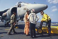 "- vertical take-off aircrafts AV-8 ""Harrier- Matador"" on the aircraft carrier Prince de Asturias <br /> <br /> - aerei a decollo verticale AV-8 ""Harrier - Matador"" a bordo della portaerei Principe de Asturias"