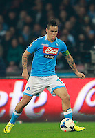 Calcio, Serie A: Napoli vs Juventus. Napoli, stadio San Paolo, 30 marzo 2014. <br /> Napoli midfielder Marek Hamsik, of Slovakia, in action during the Italian Serie A football match between Napoli and Juventus at Naples' San Paolo stadium, 30 March 2014.<br /> UPDATE IMAGES PRESS/Isabella Bonotto