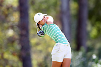 CHAPEL HILL, NC - OCTOBER 11: Nina Rissi of Michigan State University tees off at UNC Finley Golf Course on October 11, 2019 in Chapel Hill, North Carolina.
