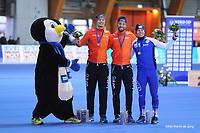 SPEEDSKATING: ERFURT: 20-01-2018, ISU World Cup, Podium 1000m Men Division A, Hein Otterspeer (NED), Kjeld Nuis (NED), Mika Poutala (FIN), photo: Martin de Jong