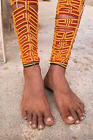 Traditional leg beadwork, Comarca De Kuna Yala, San Blas Islands, Panama