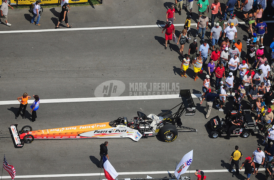 Apr. 28, 2012; Baytown, TX, USA: Aerial view of NHRA top fuel dragster driver Clay Millican during qualifying for the Spring Nationals at Royal Purple Raceway. Mandatory Credit: Mark J. Rebilas-