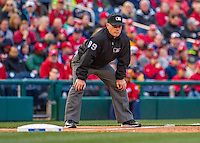 7 April 2016: MLB Umpire Toby Basner works Third Base during the Washington Nationals' Home Opening Game against the Miami Marlins at Nationals Park in Washington, DC. The Marlins defeated the Nationals 6-4 in their first meeting of the 2016 MLB season. Mandatory Credit: Ed Wolfstein Photo *** RAW (NEF) Image File Available ***