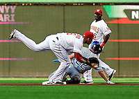 21 June 2010: Washington Nationals' shortstop Ian Desmond gets Scott Podsednik out stealing during a game against the Kansas City Royals at Nationals Park in Washington, DC. The Nationals edged out the Royals 2-1 in the first game of their 3-game interleague series, snapping a 6-game losing streak. Mandatory Credit: Ed Wolfstein Photo
