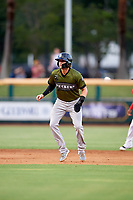 Biloxi Shuckers shortstop Jake Hager (2) leads off first base during a game against the Jacksonville Jumbo Shrimp on June 8, 2018 at Baseball Grounds of Jacksonville in Jacksonville, Florida.  Biloxi defeated Jacksonville 5-3.  (Mike Janes/Four Seam Images)