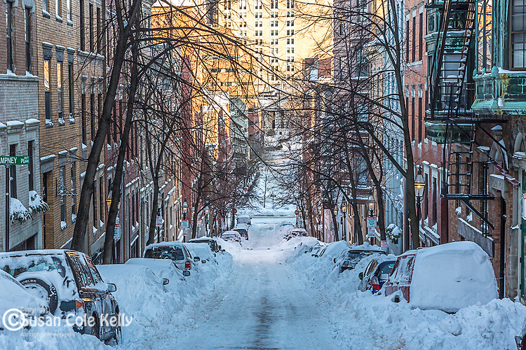 Fresh snowfall on Beacon Hill, Boston, Massachusetts, USA