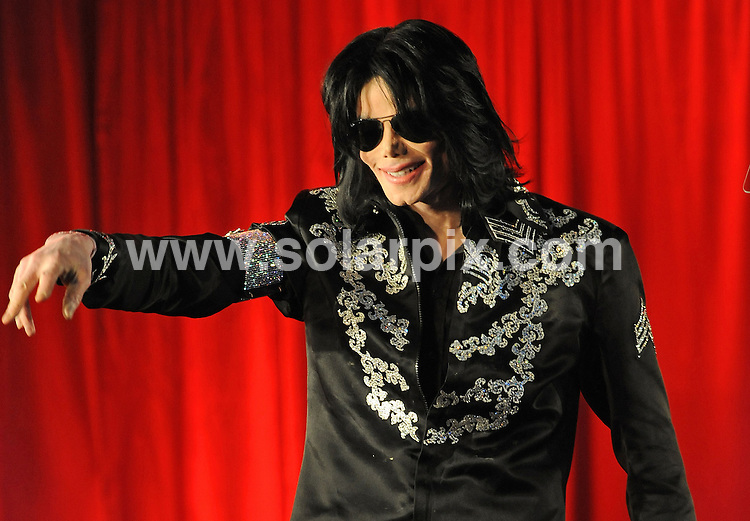 **ALL ROUND PICTURES FROM SOLARPIX.COM**.**WORLDWIDE SYNDICATION RIGHTS**.Michael Jackson announcing his string of concert dates at the O2 Arena in London..JOB REF:   8603   SSD     DATE: 05.03.09.**MUST CREDIT SOLARPIX.COM OR DOUBLE FEE WILL BE CHARGED**.**ONLINE USAGE FEE GBP 50.00 PER PICTURE - NOTIFICATION OF USAGE TO PHOTO @ SOLARPIX.COM**.**CALL SOLARPIX : +34 952 811 768 or LOW RATE FROM UK 0844 617 7637**