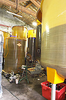 Domaine Le Conte des Floris, Caux. Pezenas region. Languedoc. Fibreglass vats. Floating top vats. France. Europe.