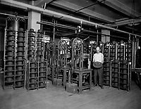 Hats manufactured for American soldiers by John B. Stetson Co., Phila., Pa.  Pressing Army service hats.  Ca.  1917-18.  John B. Stetson Co.  (War Dept.)<br /> Exact Date Shot Unknown<br /> NARA FILE #:  165-WW-228B-12<br /> WAR & CONFLICT BOOK #:  548
