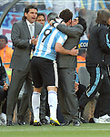 Diego Maradona kisses Gonzalo HIGUAIN during the 2010 World Cup Soccer match between Argentina vs Korea Republic played at Soccer City in Johannesburg, South Africa on 17 June 2010.