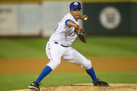Round Rock Express pitcher Juan Perez (53) delivers a pitch to the plate during Pacific Coast League game against the Memphis Redbirds on April 21, 2015 at the Dell Diamond in Round Rock, Texas. Round Rock defeated Memphis 2-1. (Andrew Woolley/Four Seam Images)