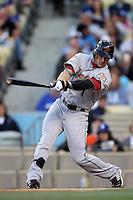 Jordan Schafer #1 of the Houston Astros bats against the Los Angeles Dodgers at Dodger Stadium on May 26, 2012 in Los Angeles,California. Los Angeles defeated Houston 6-3.(Larry Goren/Four Seam Images)