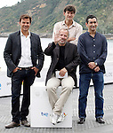 Film director Francois Ozon (l), the actor Fabrice Luchini (2l), the producer Eric Altamayer (2r) and the writer Juan Mayorga (r) attend the photocall of 'Dans La Maison' during the 60th San Sebastian Donostia International Film Festival - Zinemaldia.September 23,2012.(ALTERPHOTOS/ALFAQUI/Acero)