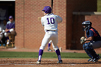 Carson Jackson (10) of the High Point Panthers at bat against the NJIT Highlanders at Williard Stadium on February 19, 2017 in High Point, North Carolina. The Panthers defeated the Highlanders 6-5. (Brian Westerholt/Four Seam Images)