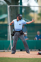 Umpire Tyler Johnson strike three call during an Instructional League game between the Detroit Tigers and Atlanta Braves on October 10, 2017 at the ESPN Wide World of Sports Complex in Orlando, Florida.  (Mike Janes/Four Seam Images)