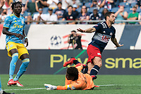 FOXBOROUGH, MA - AUGUST 8: Matt Polster #8 of New England Revolution celebrates his goal during a game between Philadelphia Union and New England Revolution at Gillette Stadium on August 8, 2021 in Foxborough, Massachusetts.