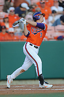 Clemson Tigers Left Fielder Jeff Schaus during the opener of the 2011 season against the Eastern Michigan Eagles at Doug Kingsmore Stadium, Clemson, SC. Clemson won 14-3. Photo By Tony Farlow/Four Seam Images.