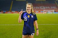 BREDA, NETHERLANDS - NOVEMBER 27: Jaelin Howell #26 of the United States celebrates her first senior national team cap during a game between Netherlands and USWNT at Rat Verlegh Stadion on November 27, 2020 in Breda, Netherlands.