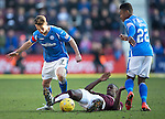 Hearts v St Johnstone…19.03.16  Tynecastle, Edinburgh<br />Arnaud Djoum is tackled by Chris Millar and Darnell Fisher<br />Picture by Graeme Hart.<br />Copyright Perthshire Picture Agency<br />Tel: 01738 623350  Mobile: 07990 594431