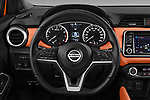Car pictures of steering wheel view of a 2017 Nissan Micra Tekna 5 Door Hatchback Steering Wheel