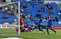 28th August 2021; Cardiff City Stadium, Cardiff, Wales;  EFL Championship football, Cardiff versus Bristol City; Kieffer Moore of Cardiff City shot hits the post and bounces clear in the 27th minute