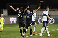 SAN JOSE, CA - OCTOBER 07: Andy Rios #25 of the San Jose Earthquakes celebrates scoring with Carlos Fierro #21 during a game between Vancouver Whitecaps and San Jose Earthquakes at Earthquakes Stadium on October 07, 2020 in San Jose, California.
