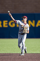 Central Michigan Chippewas shortstop Alex Borglin (6) makes a throw to first base against the Michigan Wolverines on May 9, 2017 at Ray Fisher Stadium in Ann Arbor, Michigan. Michigan defeated Central Michigan 4-2. (Andrew Woolley/Four Seam Images)