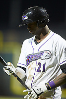 Luis Robert (21) of the Winston-Salem Dash steps up to the plate during the game against the Wilmington Blue Rocks at BB&T Ballpark on April 16, 2019 in Winston-Salem, North Carolina. The Blue Rocks defeated the Dash 4-3. (Brian Westerholt/Four Seam Images)