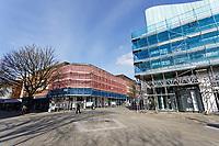 Scaffolding outside buildings in Oxford Street, Swansea, Wales, UK. Friday 20 March 2020