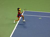 10th September 2021: Billie Jean King Centre, New York, USA: USA Open tennis championships, womens singles semi-final Emma Raducanu versus Maria Sakkari: Raducanu returns to Sakkari