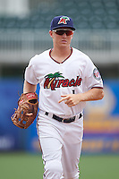 Fort Myers Miracle center fielder Tanner English (1) jogs to the dugout during a game against the St. Lucie Mets on August 9, 2016 at Hammond Stadium in Fort Myers, Florida.  St. Lucie defeated Fort Myers 1-0.  (Mike Janes/Four Seam Images)