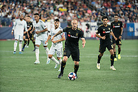 FOXBOROUGH, MA - AUGUST 4: Jordan Harvey #2 of Los Angeles FC advancing the ball towards the New England goal during a game between Los Angeles FC and New England Revolution at Gillette Stadium on August 3, 2019 in Foxborough, Massachusetts.