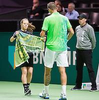 Rotterdam, The Netherlands, Februari 8, 2016,  ABNAMROWTT, Ballgirl, Lukas Rosol (CZE)<br /> Photo: Tennisimages/Henk Koster