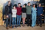 "Sergio Mur, Hugo Arbues, Raul Arevalo, Aura Garrido, director of the film Daniel Calparsoro, Belen Cuesta a producer attends to the presentation of the film ""El Aviso"" at URSO Hotel in Madrid , Spain. March 19, 2018. (ALTERPHOTOS/Borja B.Hojas)"