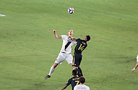 CARSON, CA - JULY 19: Zlatan Ibrahimovic #9 of the Los Angeles Galaxy battles for a ball during a game between Los Angeles FC and Los Angeles Galaxy at Dignity Health Sports Park on July 19, 2019 in Carson, California.